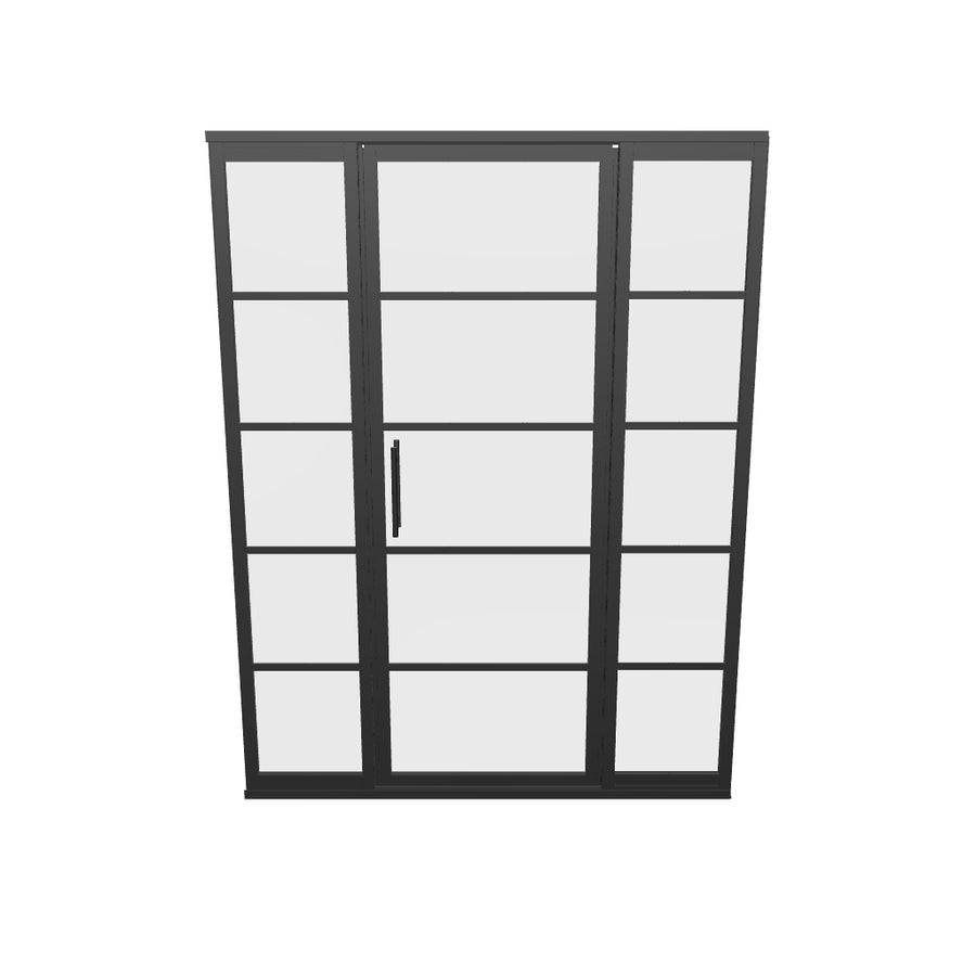 Gridscape GS2 Swing Shower Door with 2 Side Panels in Black with Clear Glass