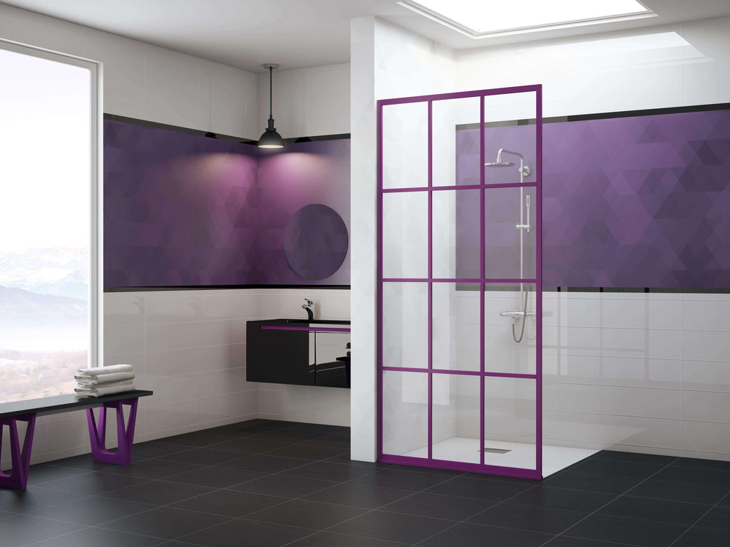 Gridscape GS1 Colorize Shower Screen in Royalty with SatinDeco Glass