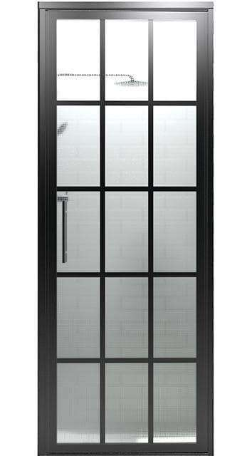 34 in Gridscape Hinged Shower Door with Master Carre Pattern Glass - Matte Black