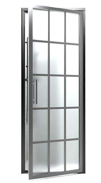 Black Frame Shower Door with Frosted Opaque Glass | Gridscape Series | GS1 | Coastal Shower Doors