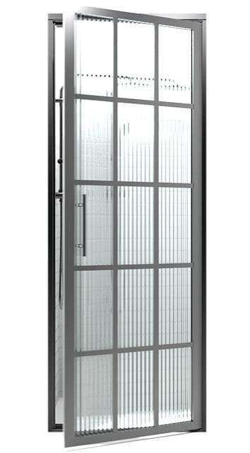 Black Frame Windowpane Shower Door | Gridscape Series | Coastal Shower Doors | Trench Reeded Glass