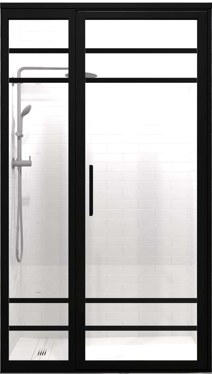 Gridscape GS2-4 Hinged Door and Panel in Black Finish and Clear Glass