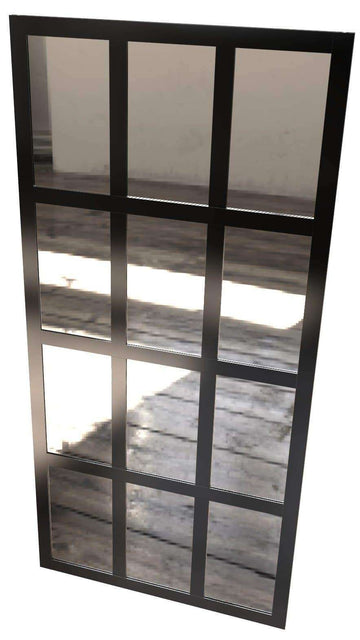 Gridscape Black Factory Windowpane Leaner Mirrors
