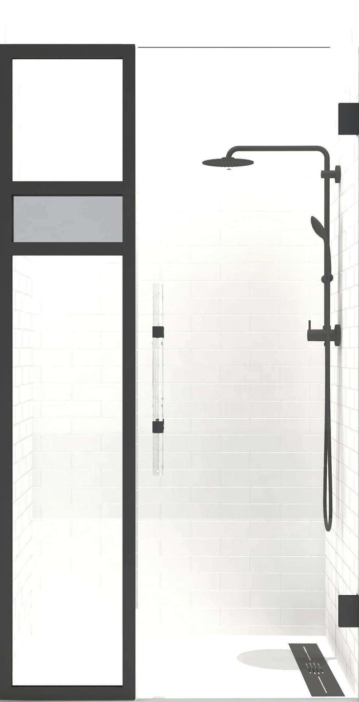 Gridscape Synthesis - Reflections Edition | 1/2 in. Frameless Hinge Shower Door and Side Panel with black hardware and black frame.