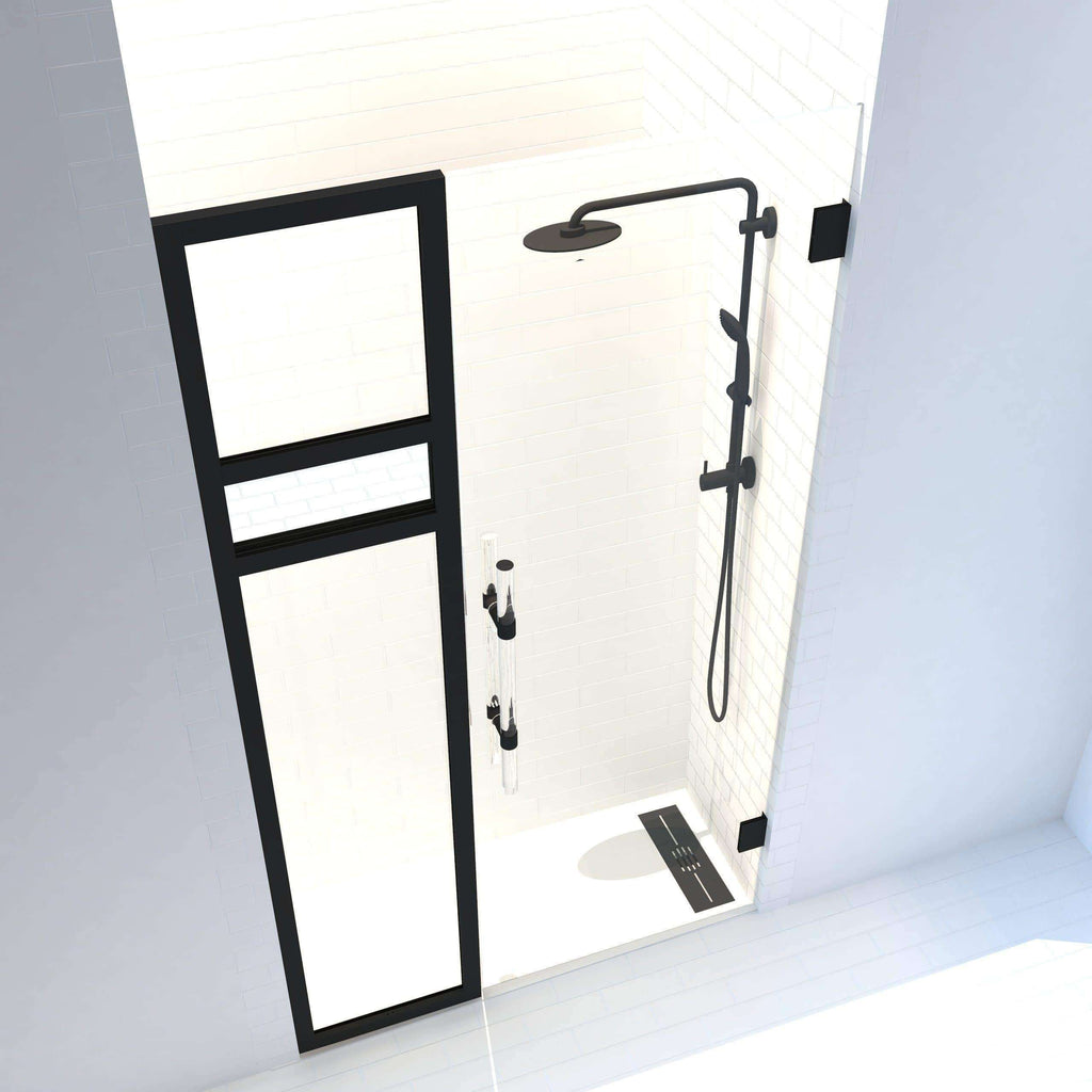 Gridscape Synthesis - Reflections Edition | 1/2 in. Frameless Hinge Shower Door and Black Framed Clear and Mirror Side Panel including mirror with black hardware and frame