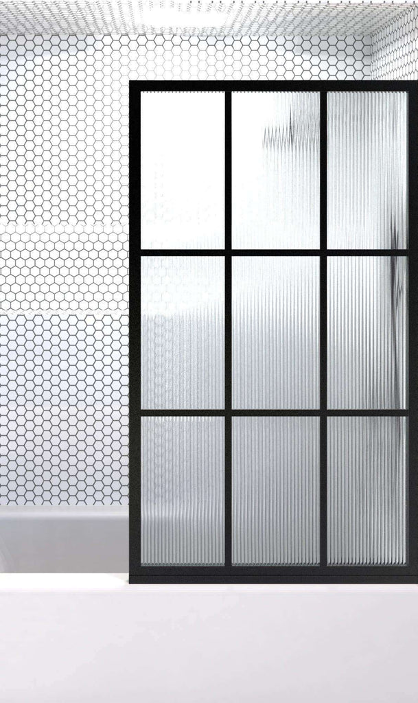 Gridscape Tub Alcove Fixed Panel Shower Doors In Black With Reeded