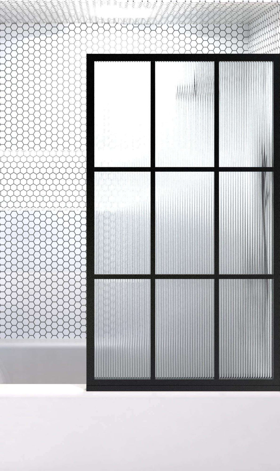 Gridscape Fixed Panel Shower Screen For Tub in Matte Black Metal Finish and Trench Pattern Reeded Glass