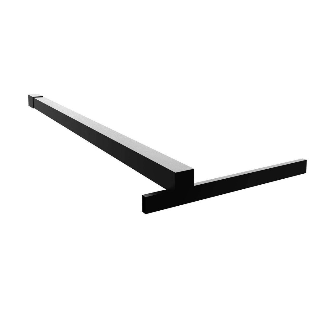 Fixed Shower Glass Panel Steel Stabilizer Bar in Matte Black For Gridscape Shower Screens