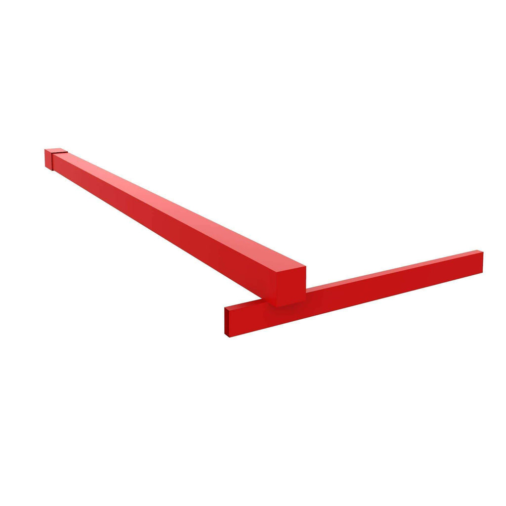 Fixed Shower Glass Panel Steel Stabilizer Bar in Matchtip Red For Gridscape Shower Screens