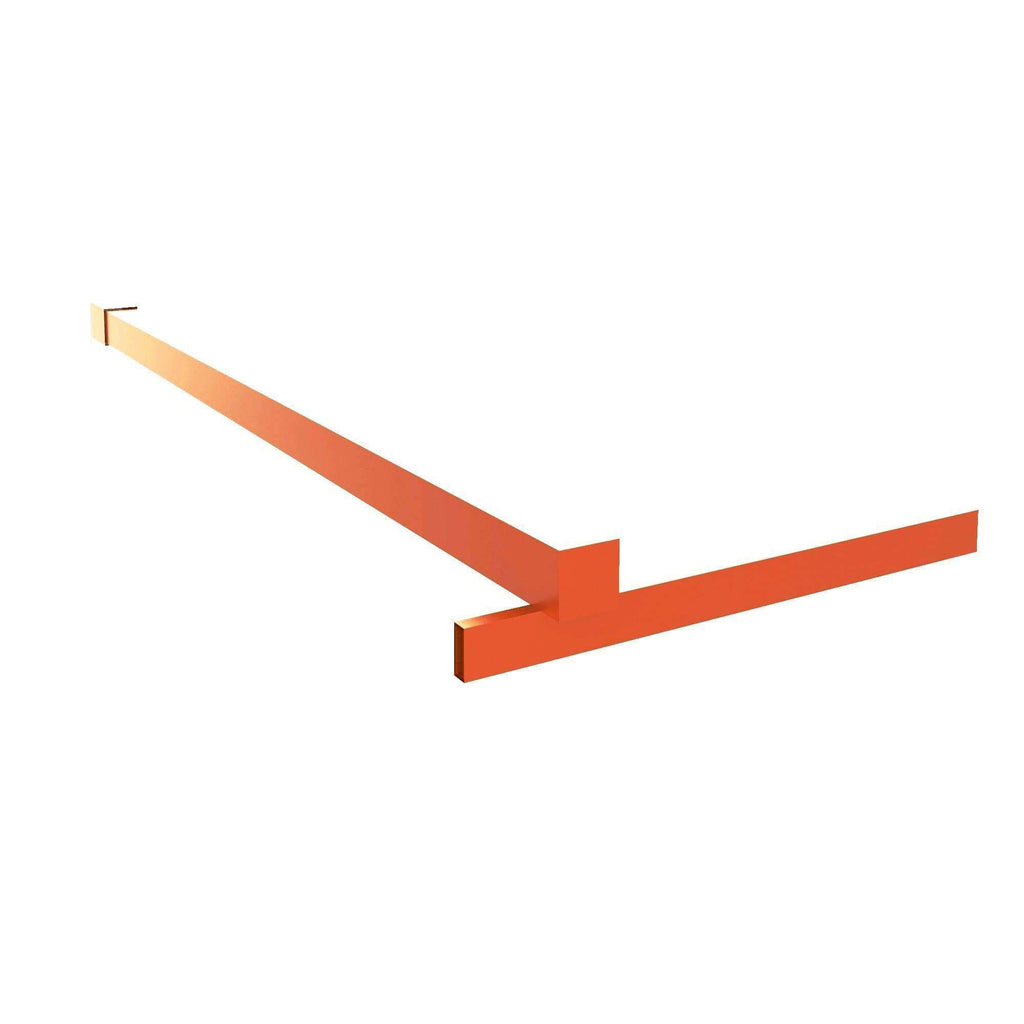 Fixed Shower Glass Panel Steel Stabilizer Bar in Mango Tango Orange For Gridscape Shower Screens