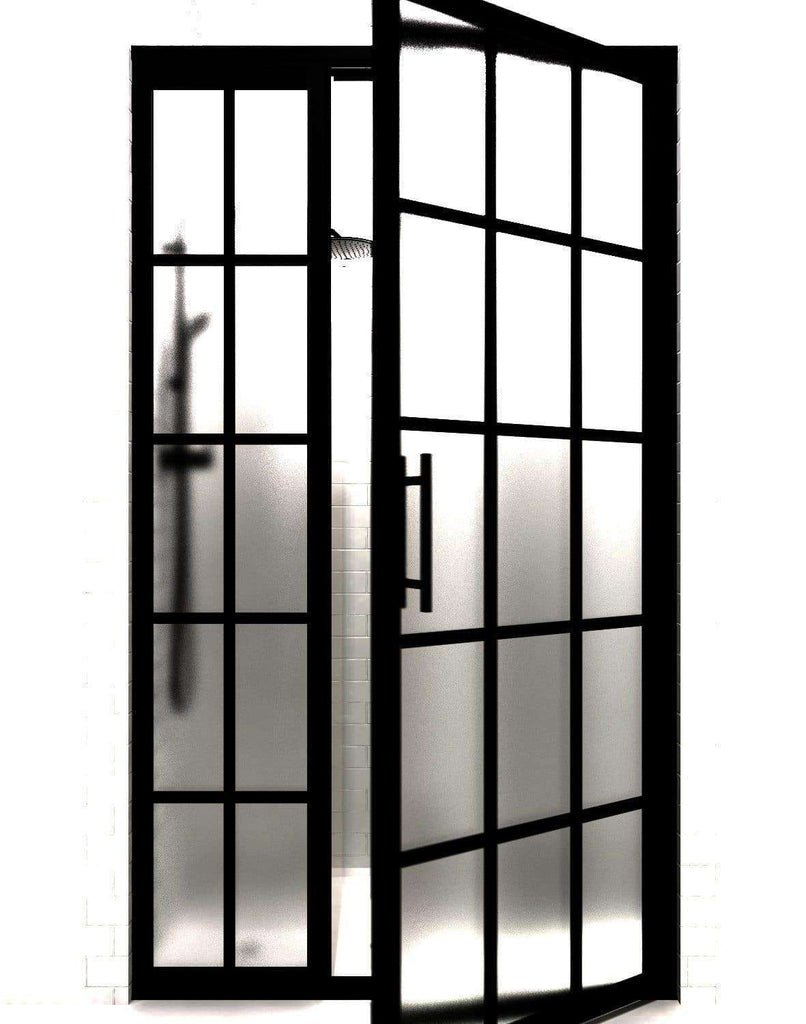 Gridscape GS1 Black Frame Factory Window Divided Light Shower Door WIth Inline Panel and SatinDeco Frosted Glass