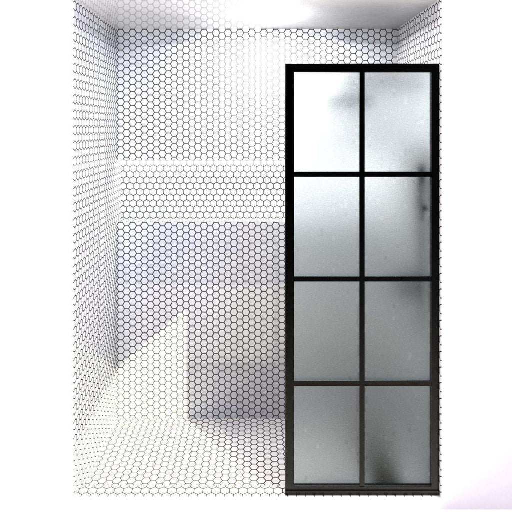 GRIDSCAPE GS1 FULL DIVIDE LIGHT BLACK FRAME GRID SWING SHOWER DOOR WITH SATIN DECO FROSTED GLASS | 24 - 32 IN WIDTH
