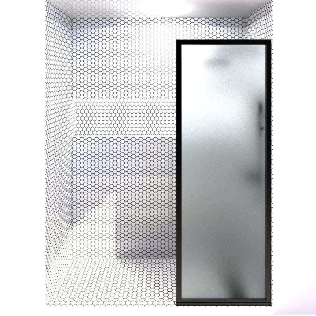 Gridscape GS3 Fixed Panel Shower Screen Black With Satin Deco Frsoted Glass | 24 in - 32 in wide