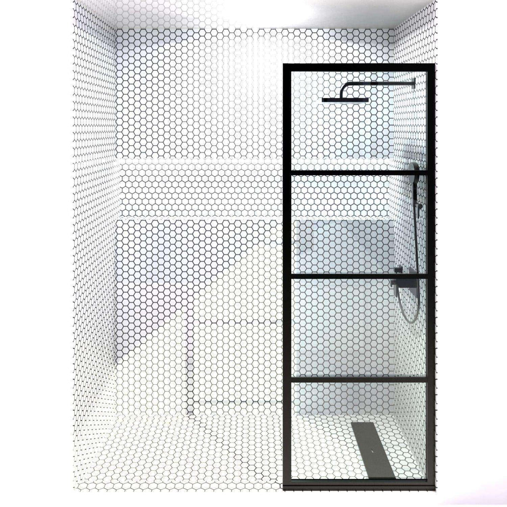 Gridscape GS2 Fixed Panel Shower Screen Black With Clear Glass | 24 in - 32 in wide