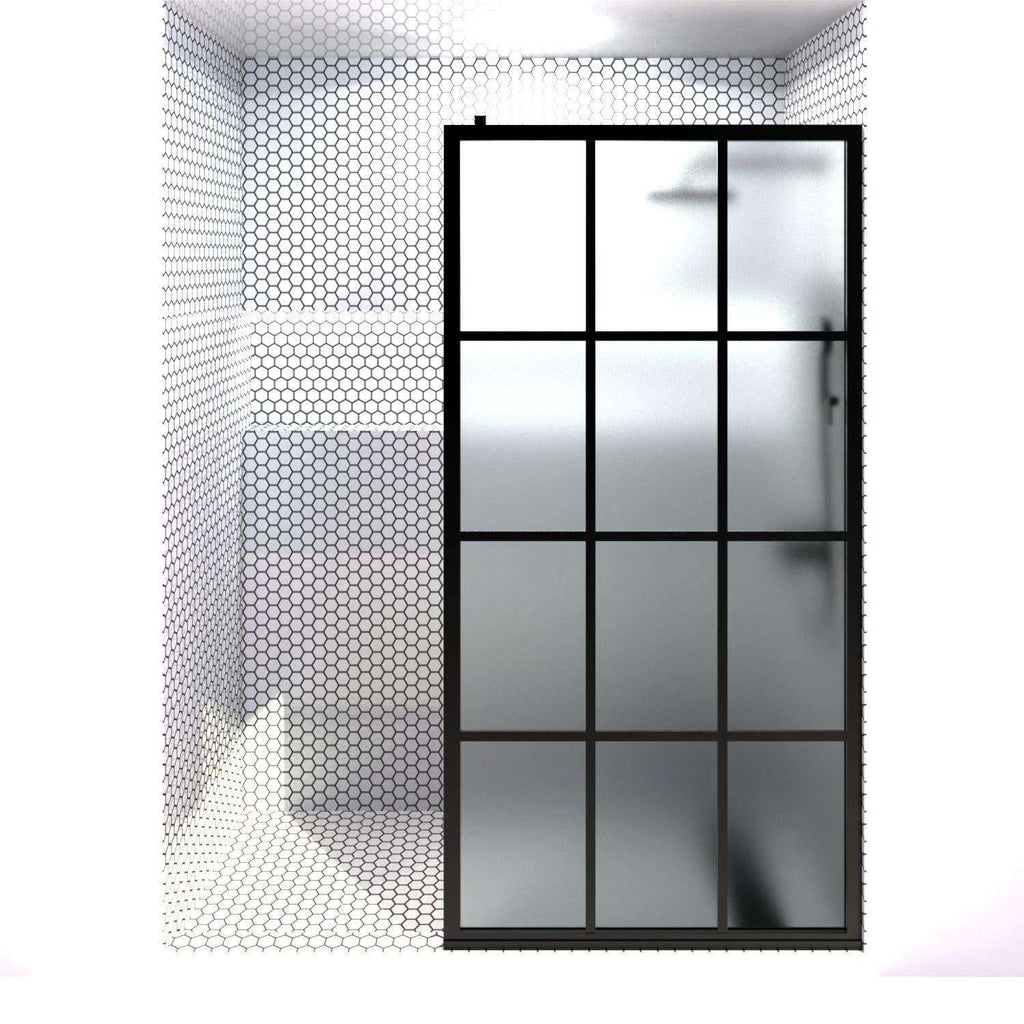 GRIDSCAPE GS1 FULL DIVIDE LIGHT BLACK FRAME GRID SWING SHOWER DOOR WITH SATIN DECO FROSTED GLASS | 36 - 40 IN WIDTH