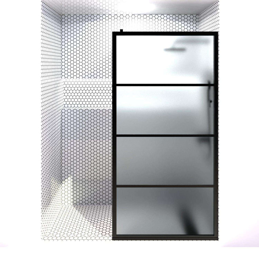 Gridscape GS2 Fixed Panel Shower Screen Black With Satin Deco Frsoted Glass | 36 in - 40 in wide