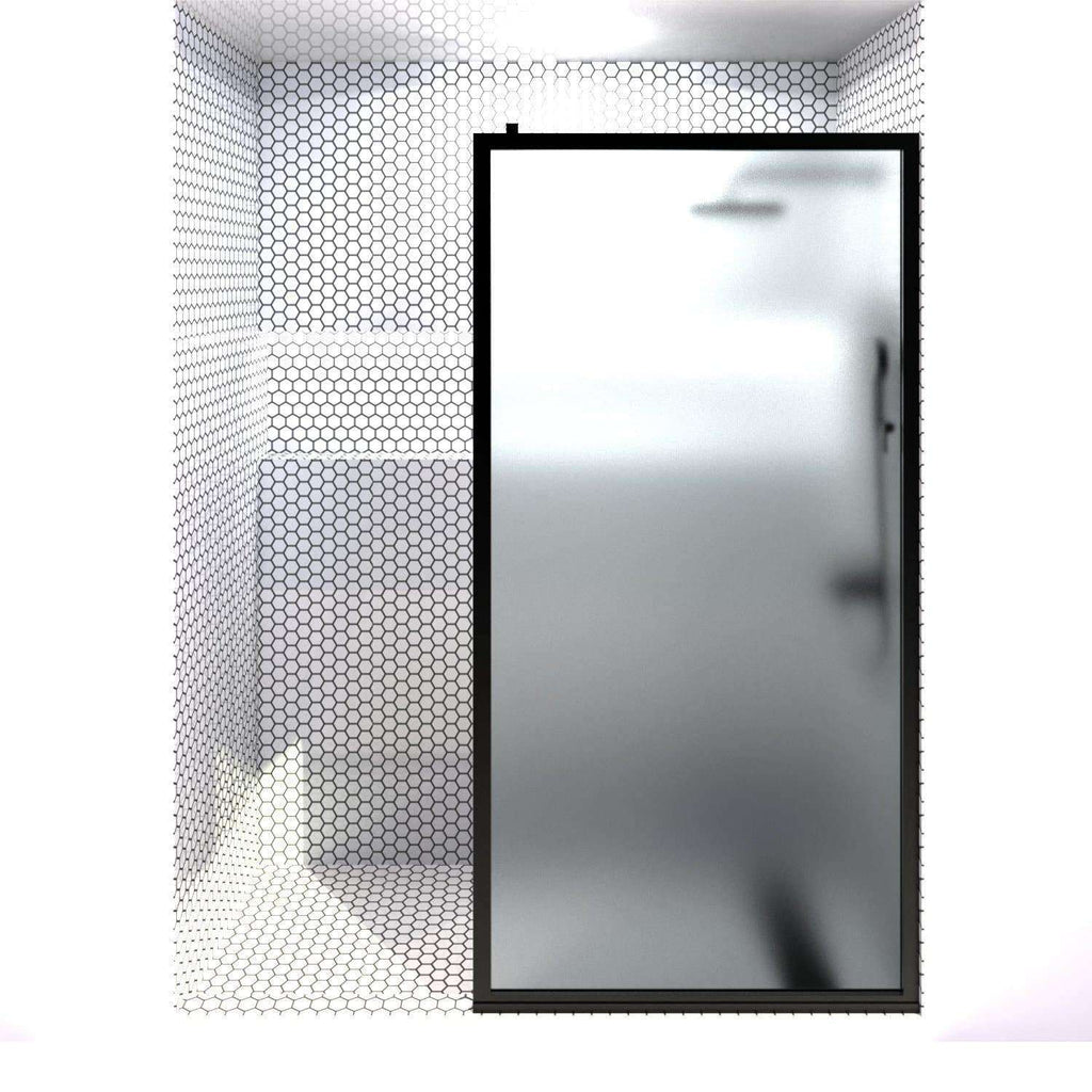Gridscape Fixed Panel Shower Screen For Tub in Matte Black Metal Finish and Satin Deco Frosted Glass 36 - 40 in.