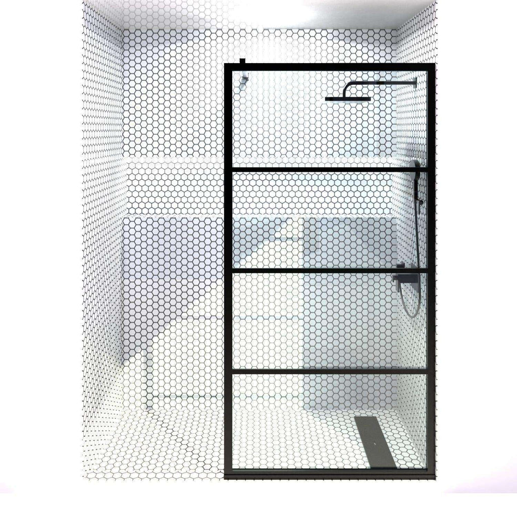 Gridscape GS2 Fixed Panel Shower Screen Black With Clear Glass | 36 in - 40 in wide