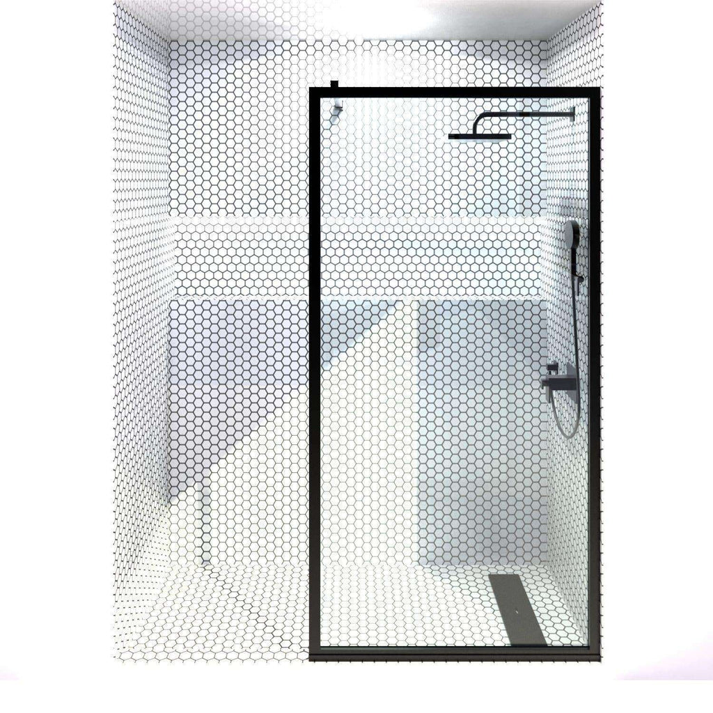 Gridscape GS3 Black Frame Shower Screen with Optional Support Arm