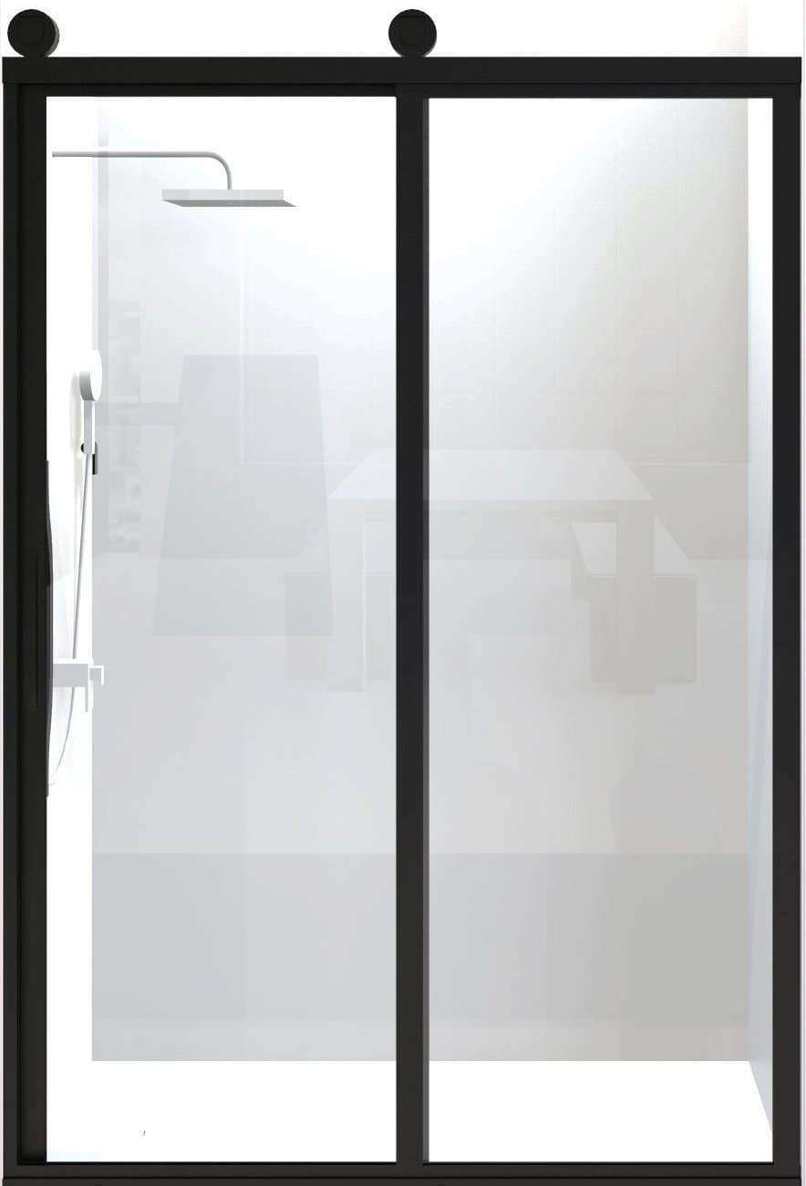 Gridscape GS3 Eclipse Sliding Shower Door in Black with Clear Glass