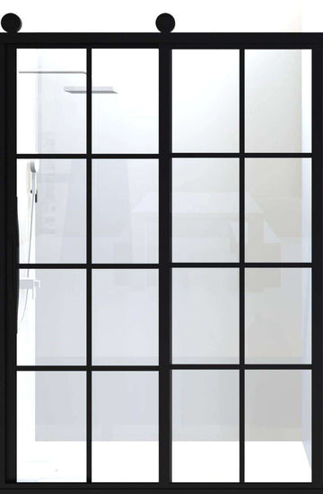 Sliding Gridscape Barn Door Showrr Door With Black Mullions in Gridded Pattern