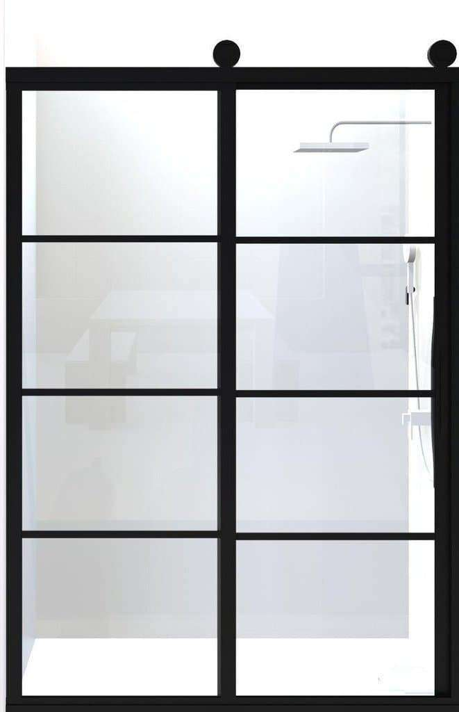 Gridscape GS2 Eclipse Sliding Shower Door in Black with Clear Glass