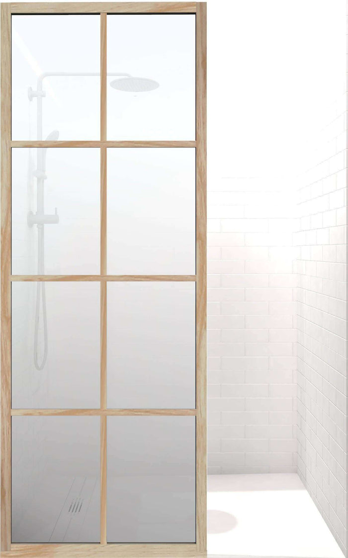 Gridscape GS1 Insiders Shower Screen in Berk-Oak with SatinDeco Glass
