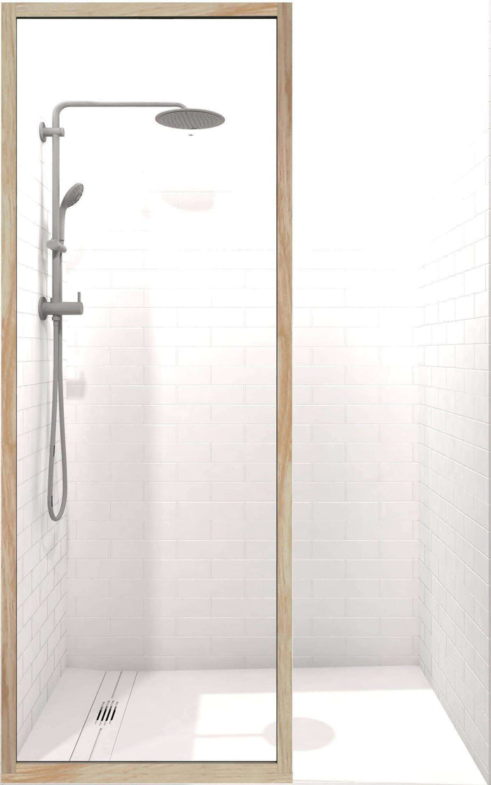 Gridscape GS3 Insiders Shower Screen in Berk-Oak with Clear Glass