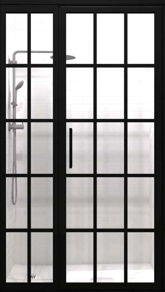 Black Gridscape Factory Window Style Grid Hinged Shower Door with Clear Glass