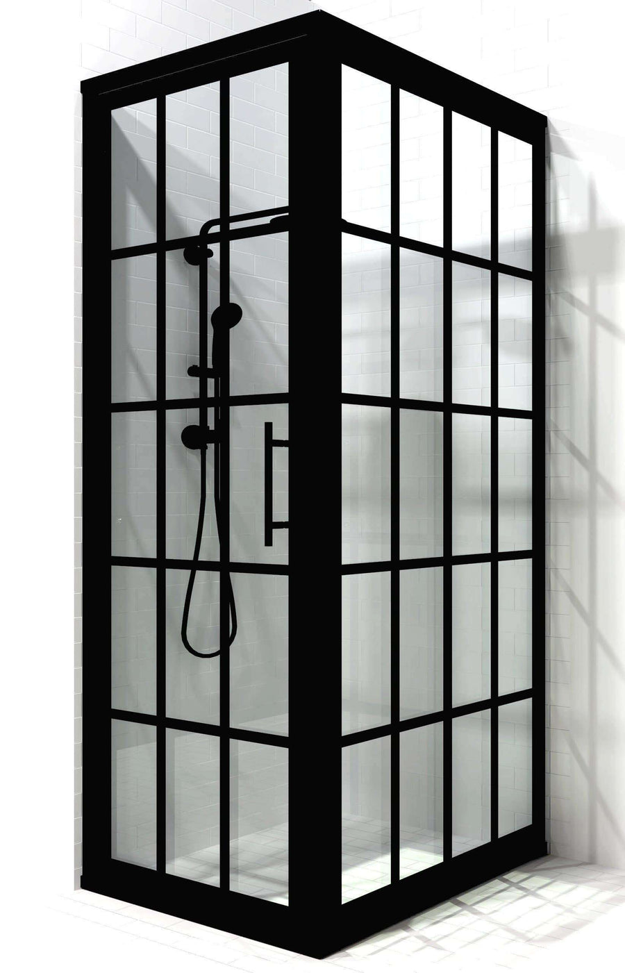 Industrial Black Grid Corner Shower Door 34 x 54 in.