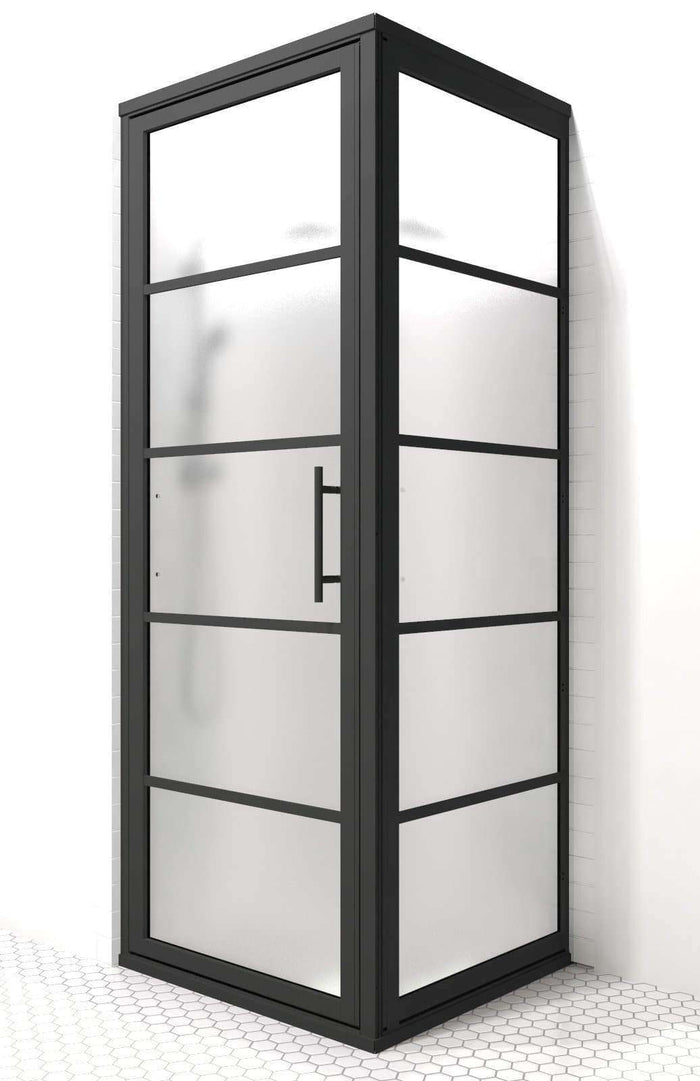 Industrial Black Framed Shower Doors - Gridscape GS2 with SatinDeco Frosted Glass by Coastal Shower Doors