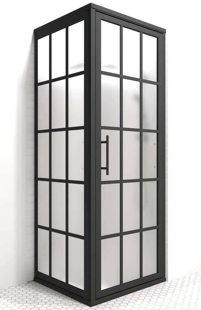 Gridscape Industral Black Grid GS1 Series 1 Corner Shower Door with SatinDeco Glass by Coastal Shower Doors