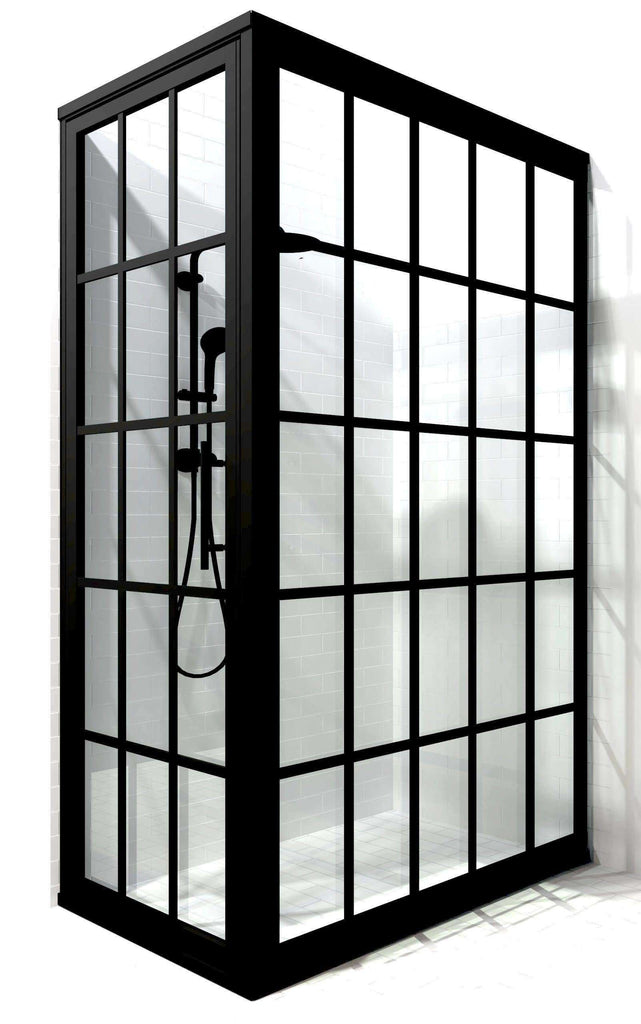 Gridscape 36 in x 60 in black framed hinged corner shower enclosure by Coastal Shower Doors