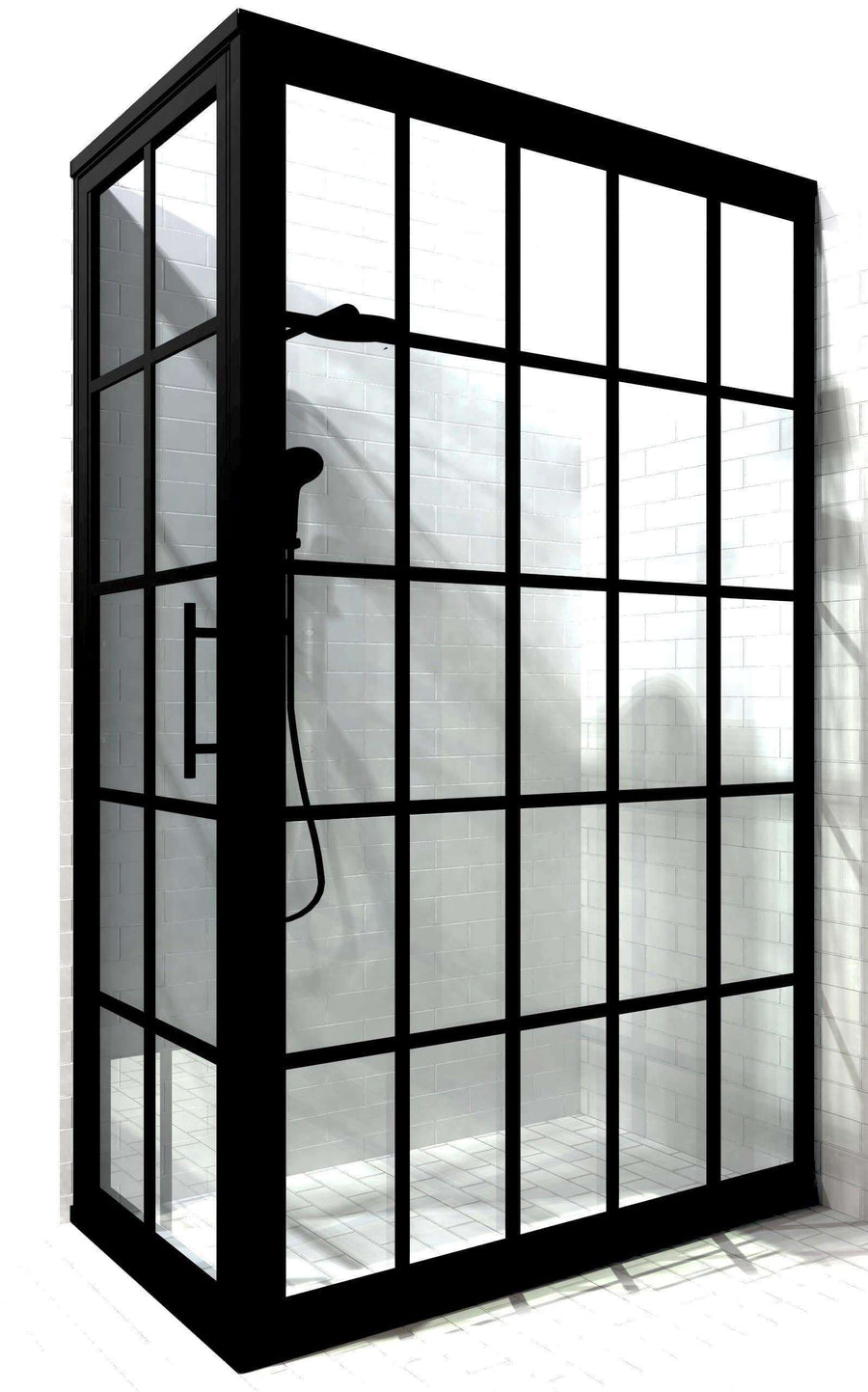30 in x 60 in corner black grid shower door | Gridscape by Coastal Shower Doors