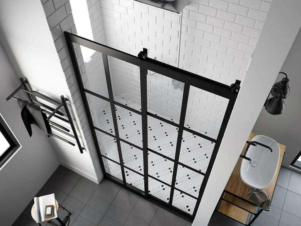 Black Window Grid Sliding Barn Door Shower By Coastal Shower Doors