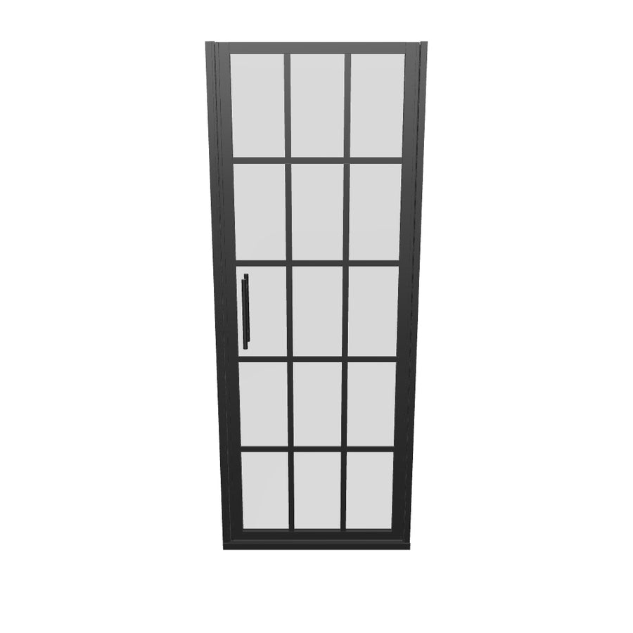 Gridscape GS1 Swing Shower Door in Black with Clear Glass