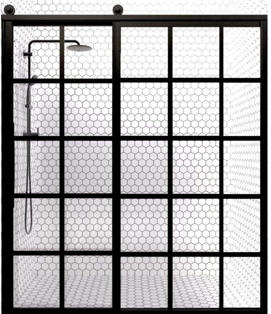 Gridscape GS1 Eclipse Sliding Shower Door in Black with Clear Glass