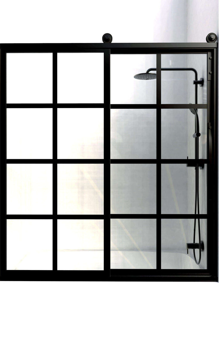 Gridscape Eclipse GS1 True Divided Light Factory Window Shower Door with Black Frame