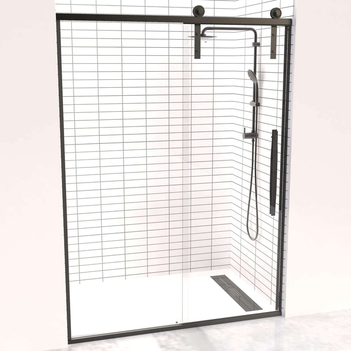 Gridscape Eclipse Black Trim Sliding Shower Door with Barn Door Rollers and Frameless Glass