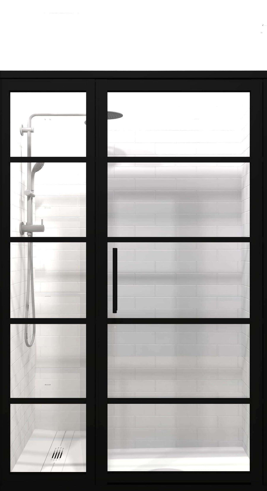 Black Frame Shower Doors | Gridscape | GS2 | Clear Glass | Coastal Shower Doors | Hinged