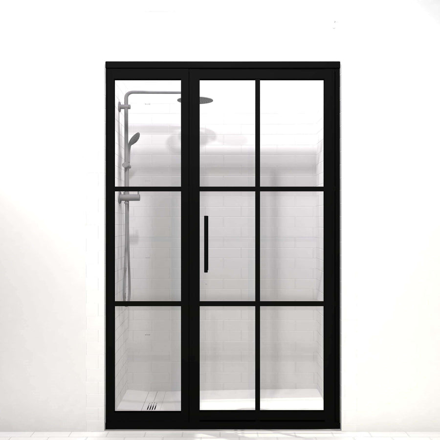 Gridscape Shower Doors in GS1 with Black Metal finish and Clear Glass.