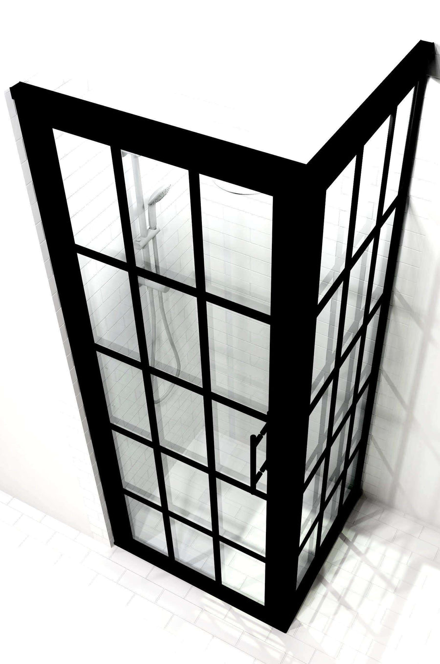 Divided Light Black Frame Corner 2- Panel Shower Door with Grids - Gridscape Series 1 GS1 by Coastal Shower Doors