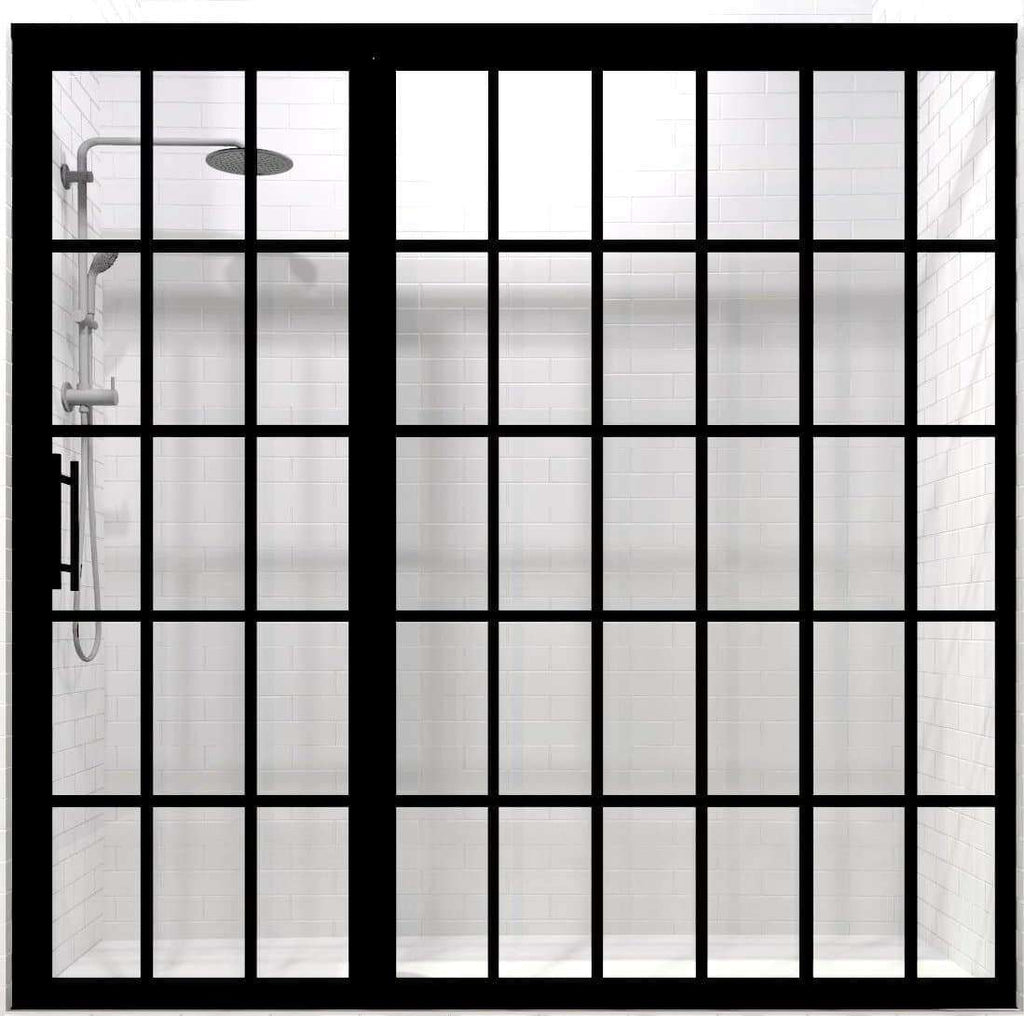Gridscape Factory Windowpane Shower Door by Coastal Shower Doors for Large Alcove Shower Openings