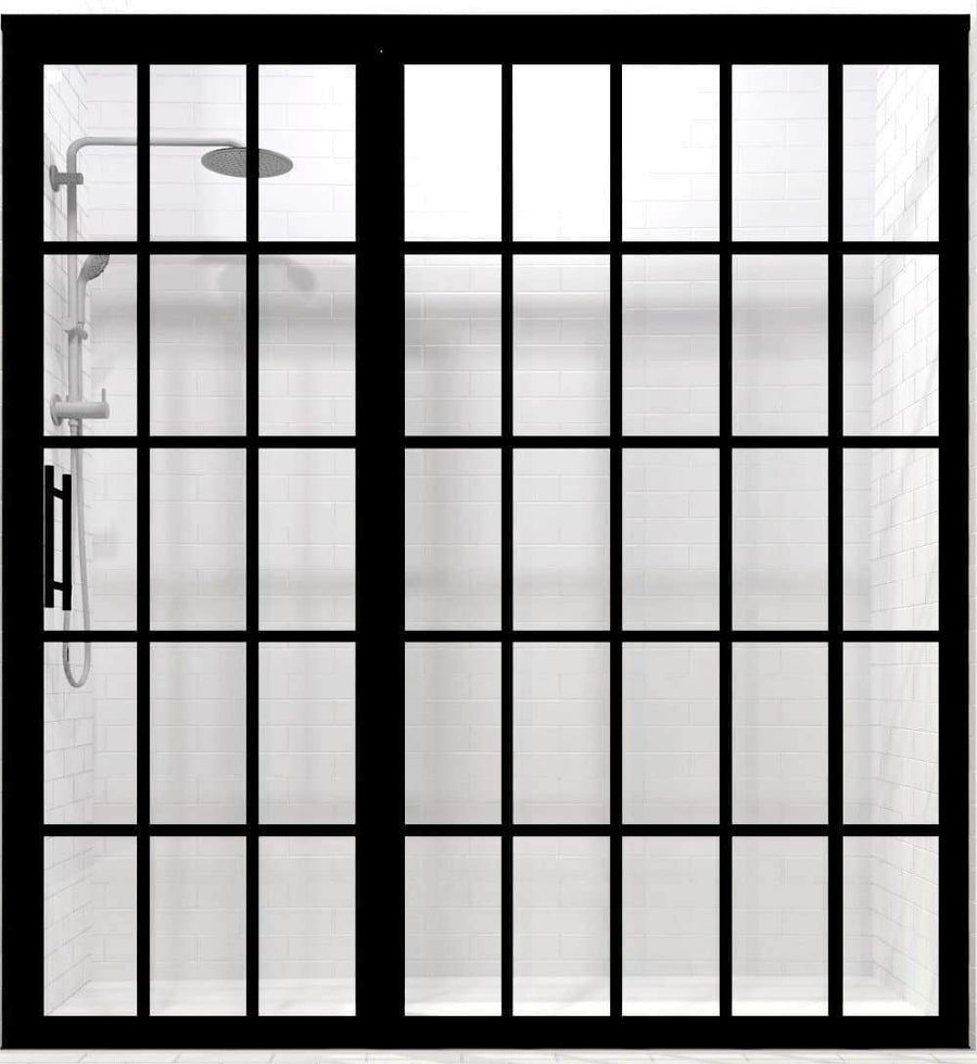 Gridscape Black Framed Shower Door For Wide Alcove Shower Openings