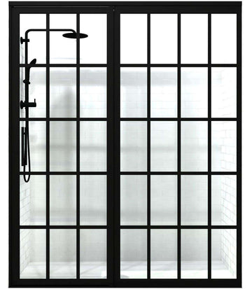 Gridscape Shower Door with Extended Inline Panel in Black with Clear Glass