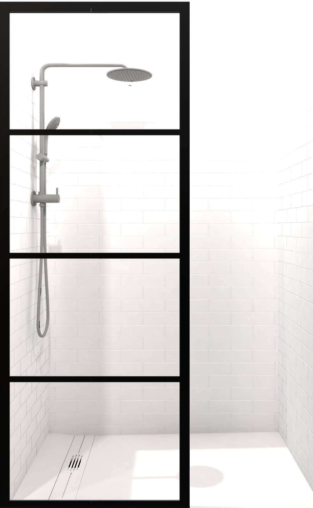 Gridscape GS2 Industrial Fixed Glass Shower Screen in Black Frame ...