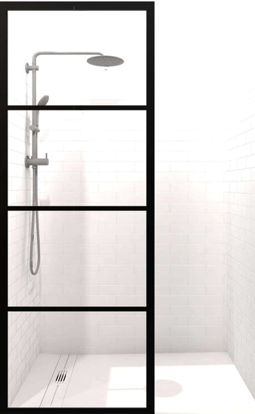 Gridscape Gs2 Industrial Fixed Glass Shower Screen In