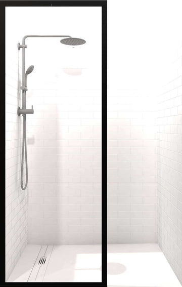 Gridscape Black Trim Shower Screen with Clear Glass and Black Frame Outline