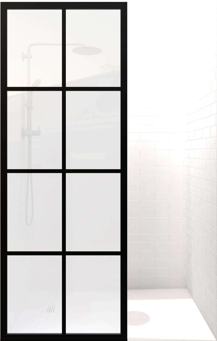 GRIDSCAPE GS1 FULL DIVIDE LIGHT BLACK FRAME GRID SWING SHOWER DOOR WITH SATIN DECO FROSTED GLASS | MAIN IMAGE