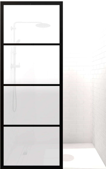 Gridscape GS2 Fixed Panel Shower Screen Black With Satin Deco Frosted Obscure Glass Main Image